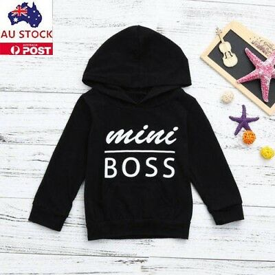 Toddler Boys Letter Long Sleeve Hooded Cotton Warm Coat Outwear Clothes AU Stock
