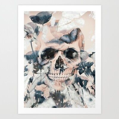 "Blush Pink & Blue Butterfly & Skull Art Print on Neutral Background 13"" x 17"""