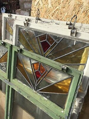 8 X 1950's Original Crittal Windows With Leaded Stained Glass Vintage Reclaimed