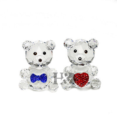 Crystal Bear Sweetheart Couple Figurines Animal Paperweight Valentine Day Gift