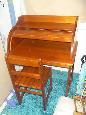roll top childs vintage desk with chair