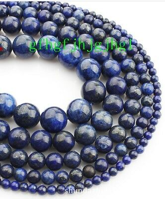 AAA Natural  8mm 10mm 12mm Lapis Lazuli Gemstone Round Beads 15''