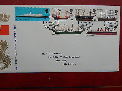 gb stamps s g 778-783.  British Ships. First Day Cover. Channel Islands Jersey.