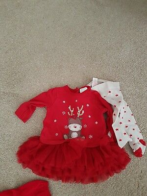Baby Girls Christmas bundle, tutu and jumper dress 0-3m