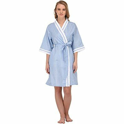 Women's 'Stacy' Gingham Cotton Short House Robe
