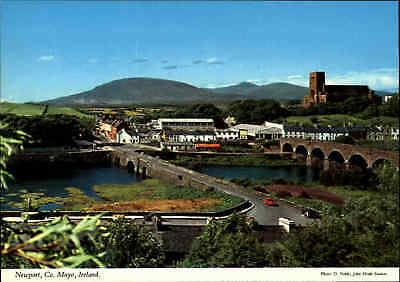 Post Card IRELAND Irland NEWPORT Co. Mayo County River Bridge View, color AK
