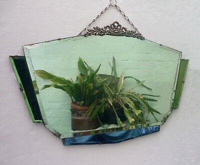 ART DECO ERA WALL MIRROR green and blue glass