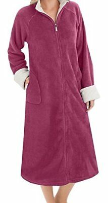 EZI Women's Zip Front Plush Terry Robe