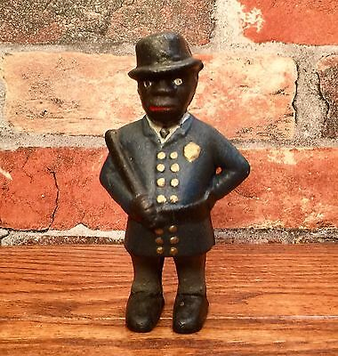 Cast Iron Black Americana Police Officer Man Vintage Penny Coin Bank