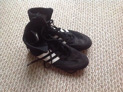 Adidas Box Hog 2  Mens Black White Boxing Lightweight Boots Size Uk 6.5