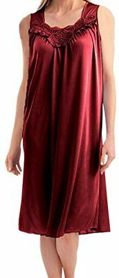 EZI Women's Faux Silk and Lace Sleeveless Nightgown,Red,XXL