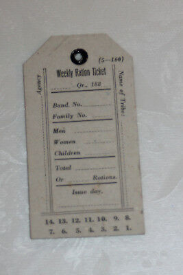 native american - american indian weekly ration ticket RAR - Reservat unbenutzt