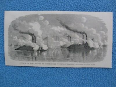 1884 Print of Civil War Print - Attack on Fort Henry by Foote's Gunboats, 1862