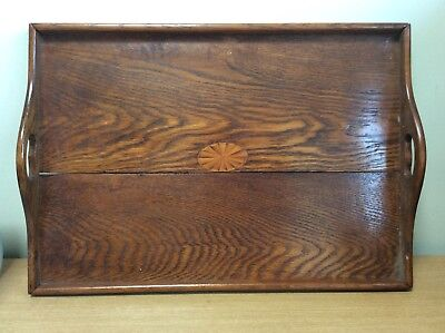 Antique Wooden Tray With Handles And Inlaid Design