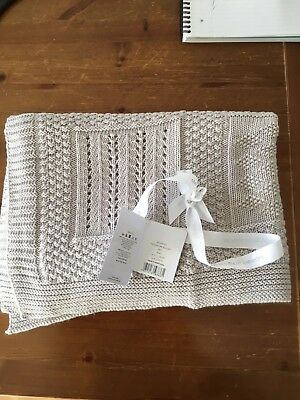 the little white company Patchwork Baby Blanket Grey Pram BNWT
