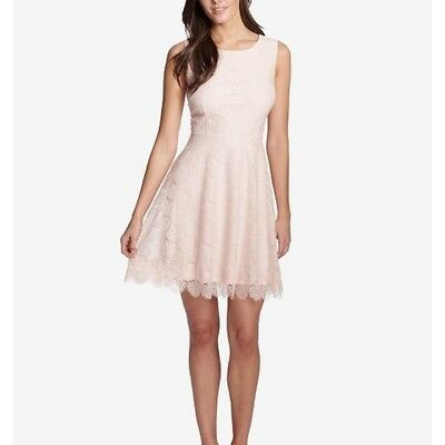 NWT Kensie Fan Lace Fit & Flare Blush Pink Scalloped Dress Size 6 $98