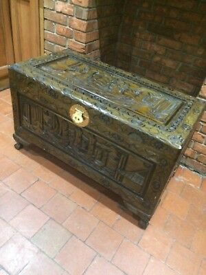 Oriental Carved chest Very Large Or Storage Box