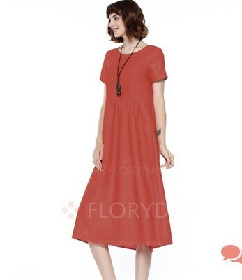6f1012f5945991 BNWT!! FLORYDAY RED Linen Maxi Summer Dress Gown Short Sleeve A Line ...