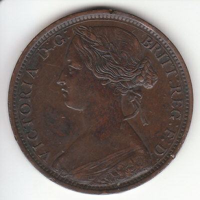 1862 Great Britain Queen Victoria 1 One Penny.  HIGH Grade.