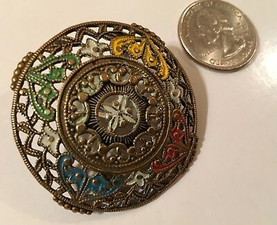 Antique LARGE French Pierced Brass Hand Painted Button