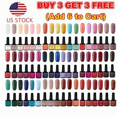 126 Colors Gel Nail Polish Top&Base Coat UV Soak Off Glitter Shiny Nail Art 7ml