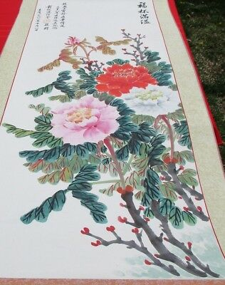 Chinese Vintage Hanging Scroll Painting of Flowers, Signed