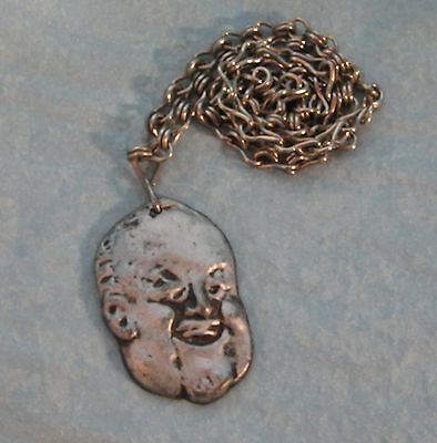 """Pewter George McGovern Caricature Pendant Necklace Heavy 14"""" Chain Vintage"""