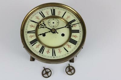 ANTIQUE VIENNA REGULATOR CLOCK MOVEMENT weight driven LARGE PORCELAIN 183mm dial