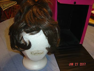 Vintage 70' S Wig Short Brown Hair Mod Halloween Carousel Carry Case Hot Pink