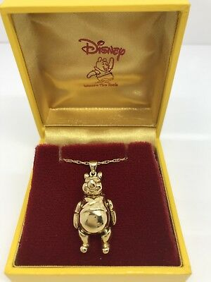Rare Gold Plated Disney Winnie The Pooh Moving body parts Necklace