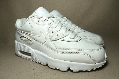 pretty nice 5bd11 49662 NIKE AIR MAX 90 LTR GS Triple White Junior Unisex Leather Trainers UK 4 EU