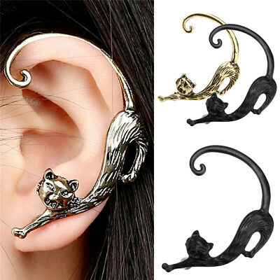 1PC Cat Animal Ear Clip Clamp Cuff Studs Punk Wrap Cartilage Earrings Jewelry Oq