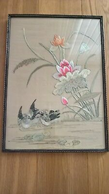 """Vintage Chinese Embroidered Silk Picture, 17"""" x 12"""""""