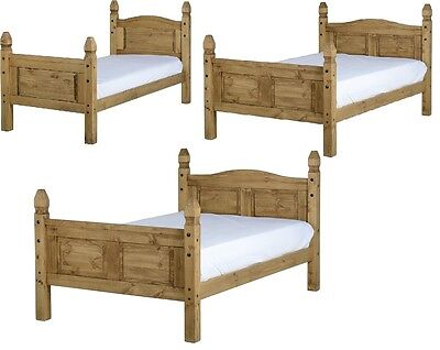 "Corona Mexican Waxed Pine Wooden Bed Frame Single 3Ft, Double 4'6"", Kingsize 5Ft"