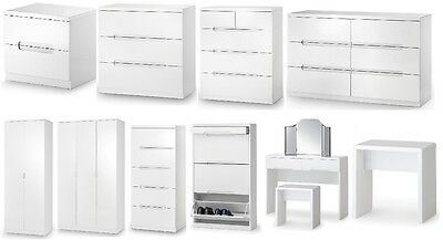 Manhattan White High Gloss Bedroom Furniture Bedside, Chests, Wardrobe, Dresser