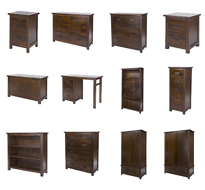 Boston Handcrafted Dark Lacquered Bedroom Furniture Bedside, Chest, Wardrobe