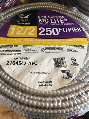 12/2 MC Cable, 250 Feet, Solid Copper