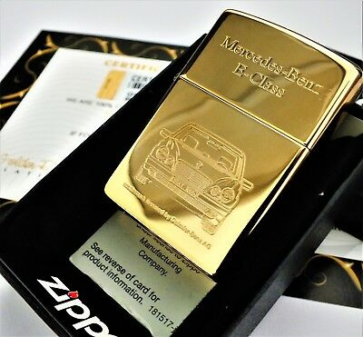 24Ct Gold Plated Zippo Petrol Refillable Pipe Lighter Mercedes E Class Gift Box