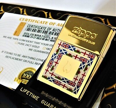 24Ct Gold Plated Zippo Collectors Club Petrol Refillable Pipe Lighter Gift Box