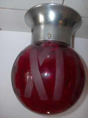 1930s RUBY RED GLASS MOVIE THEATRE EXIT SIGN art deco LAMP SHADE GLOBE & FIXTURE