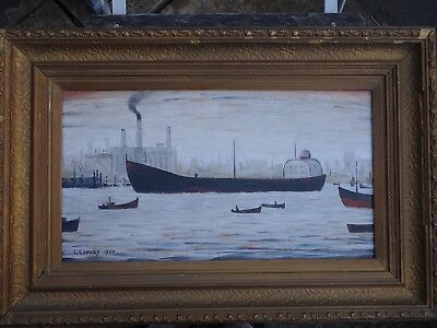 ORIGINAL Vintage Oil Painting Northern School Signed and Dated L S Lowry 1960