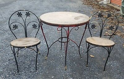 Vintage Mid Century Modern Wrought Iron Metal Wood Bistro Table Chairs Ice Cream