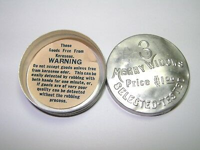 Vintage Merry Widows 3 Selected Condoms Aluminum Early Advertising Tin w/ Insert