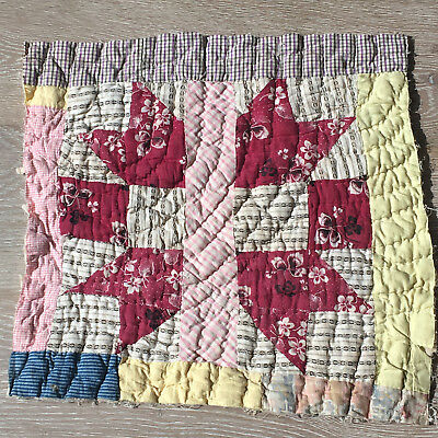 Antique Cutter Patchwork Quilt piece - great for crafts or pillows Vintage! #6