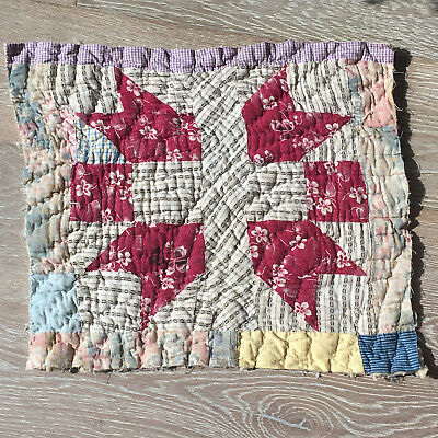 Antique Cutter Patchwork Quilt piece - great for crafts or pillows Vintage! #11