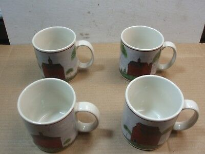 Sakura China Warren Kimble Barns 1998 10 Oz. Mugs       4 Pcs