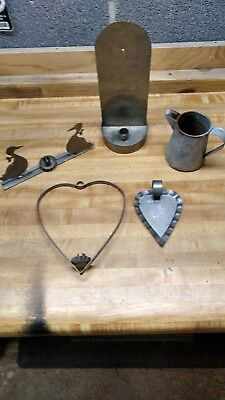 Antique Vtg galvanized Candle Holders Candlestick Metal Home Decor Lot of 5 Old