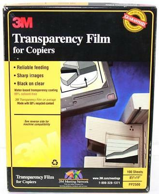 "3M Transparency Film for Copiers 8 1/2""X11"" PP2500 Open Box 1/2 Full IOB!"