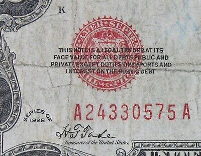 $2 1928 large red seal US Note A24330575A two dollar, plain series, FREE SHIP.