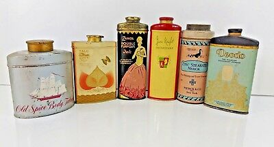 5 Talc/Deodorant/Toilet Powder Tins (Deodo, June Knight, L'Origan, Old Spice, +)